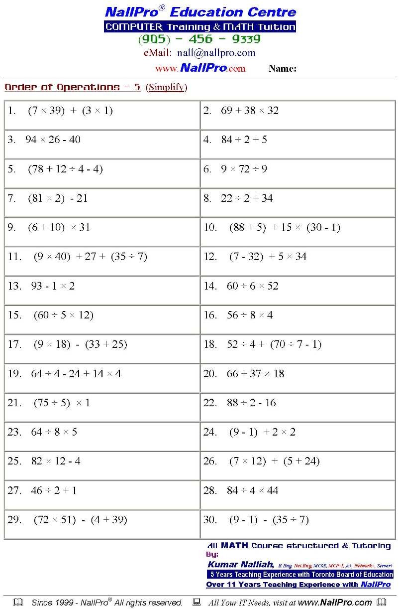 Ontario Grade 6 Math Worksheets Scalien – Grade 8 Math Algebra Worksheets