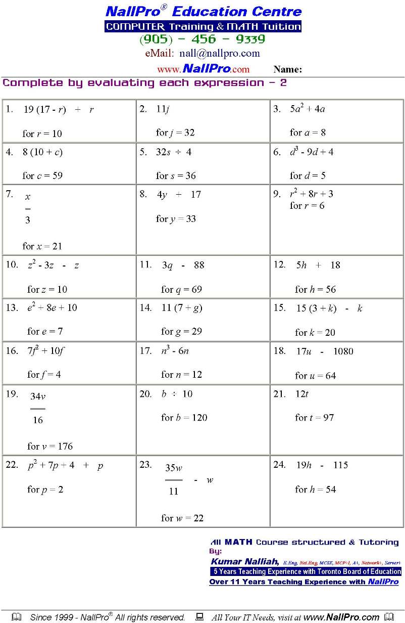 Grade 10 Applied Math Worksheets – Grade 10 Math Worksheets